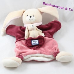 Doudou puppet rabbit and her baby DOUDOU AND COMPAGNY Pink raspberry 26 cm