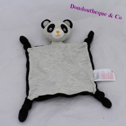 Doudou flat panda VERTBAUDET black grey knots 23 cm