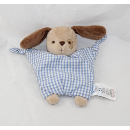 Doudou semi-flat dog JACADI blue tiles vichy white brown 20 cm