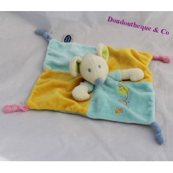 Doudou flat mouse MOTS D'ENFANTS blue square yellow 23 cm