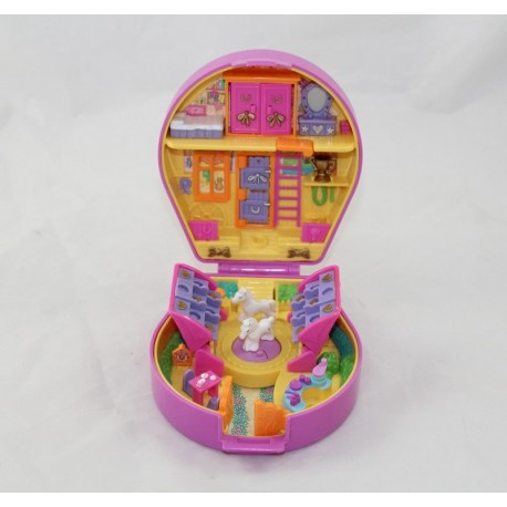 Polly Pocket BLUEBIRD purple horseshoe box with 2 horses