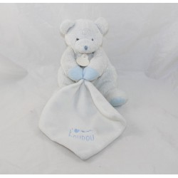 Doudou handkerchief bear DOUDOU AND COMPAGNIE I love my white blue softie 20 cm