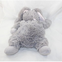 Peluche lapin ETAM range pyjama doudou bouillotte gris 40 cm
