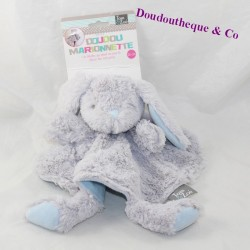 Doudou flat rabbit TOM - ZOÉ round blue grey puppet 26 cm