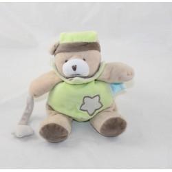 Doudou bear BABY NAT' Luminescent green brown star puppet 19 cm