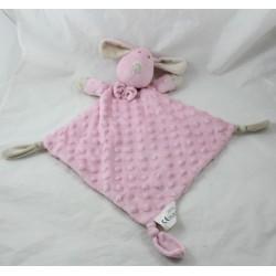 Doudou flat dog DUFFI BABY pink diamond beige knots 43 cm