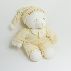 Peluche ours GIPSY Baby bear beige clair bonnet 30 cm