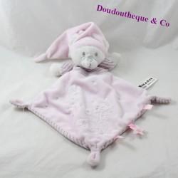 Doudou flacher Diamantbär MAX - SAX rosa Mond Streifen Carrefour 31 cm