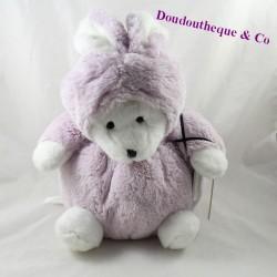 Peluche ours déguisé en lapin J-LINE Jline blanc violet 30 cm