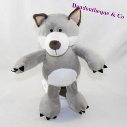 White grey cotton BLUE wolf 27 cm