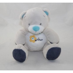 Doudou bear ARTHUR AND LOLA BEBISOL blue triangle grey 18 cm