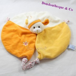 Doudou flat sheep GIPSY round beige orange 28 cm