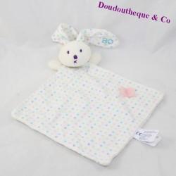 Doudou flat rabbit OBAIBI Okaidi diamond peas flower 30 cm