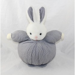 Doudou rabbit JULES AND JULIE striped striped white ball white fabric 28 cm