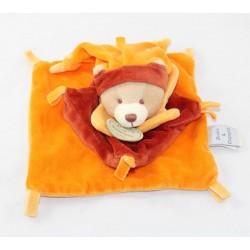 Doudou flat bear DOUDOU AND COMPAGNIE Cinnamon orange square 17 cm