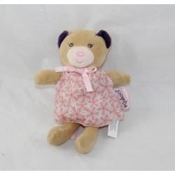 Mini doudou ours KALOO Petite Rose robe à fleurs rose mini poupée 15 cm