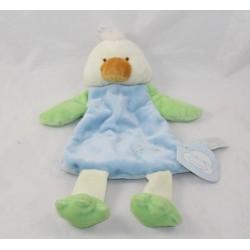 Doudou plat canard TIAMO bleu vert Daffy & Ducky 28 cm