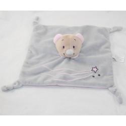 Doudou flat bear JOGYSTAR grey pink star knots 24 cm