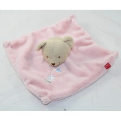 Doudou flat bear TEX BABY pink white margueritte 22 cm