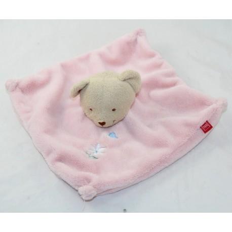 Doudou flat bear TEX BABY pink white margueritte 22 cm
