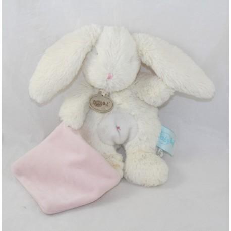 Doudou rabbit BABY NAT' The pink belly white bee handkerchief hugs 20 cm