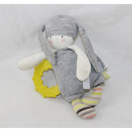 Doudou rattle rabbit MOULIN ROTY The little Dodos gray yellow teething ring