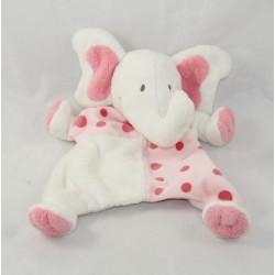 Doudou puppet elephant ALL COMPTE pink white peas 25 cm