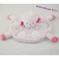 Doudou flat round sheep KIMBALOO Brioche Pink White La Halle