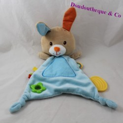 Doudou flat rabbit MINIMI blue teething ring 36 cm