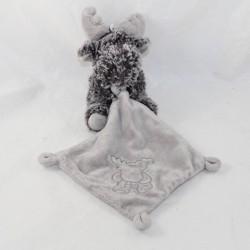 Doudou handkerchief elk reindeer KIABI l2c grey 30 cm