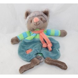 Doudou flat Wolfy wolf BUKOWSKI gray blue green orange Baby Rug 20 cm
