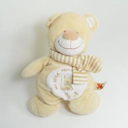 Doudou bear NICOTOY brown beige scarf 28 cm