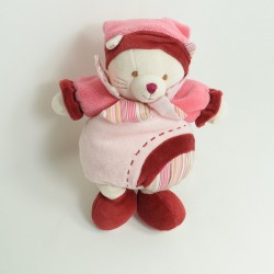 Doudou Minouchette cat DOUDOU AND COMPAGNIE pink burgundy 25 cm