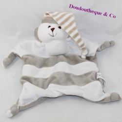 Doudou flat bear CREDIT MUTUEL striped white grey cap 26 cm