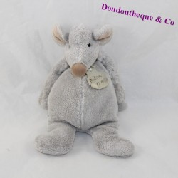 Doudou mouse OURS HISTORY Frimousse grey ball 22 cm