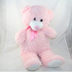 Large teddy bear MAX - SAX pink satin bow 60 cm