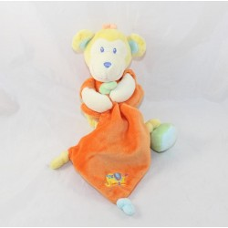 Doudou handkerchief monkey POMMETTE Intermarket orange yellow 22 cm