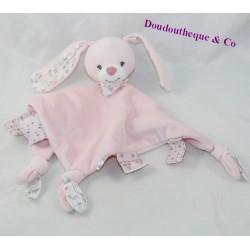 Doudou flat rabbit BOUT'CHOU pink triangle Monoprix 30 cm