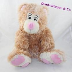 Pink beige bear long hairs sitting 30 cm