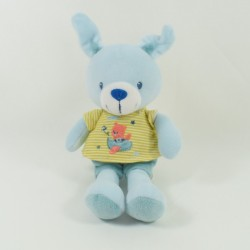 Doudou rabbit POMMETTE blue handkerchief plane orange bear 36 cm