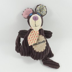 Doudou flat gromos bear BABY DEGLINGOS plum and his tie