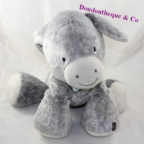 Large stuffed donkey KALOO Régliss' ânon Friends gray bandana blue 35 cm