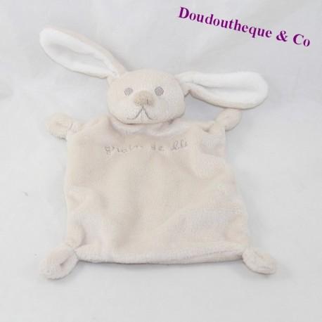 Doudou flat rabbit GRAIN DE BLE white beige 22 cm