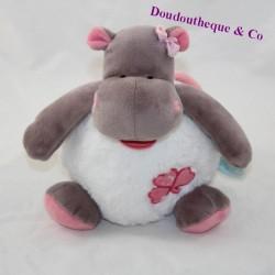 Musical hippopotamus doll BABY NAT Zoé white pink 19 cm