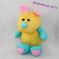 Peluche chien toile de parachute vintage jaune et bleu 22 cm