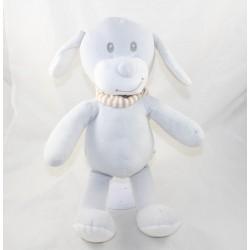 Peluche chien POMMETTE gris écharpe rayée blanc beige Intermarché 38 cm