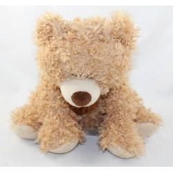 Peluche ours PRIMARK beige marron bouclé 26 cm