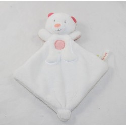 Doudou flat bear SUCRE D'ORGE pink white triangle 23 cm