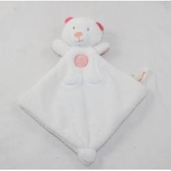 Doudou oso plano SUCRE D'ORGE triángulo blanco rosa 23 cm
