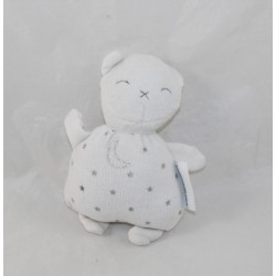 Mini bear soft bear VERTBAUDET moon stars white silver 12 cm
